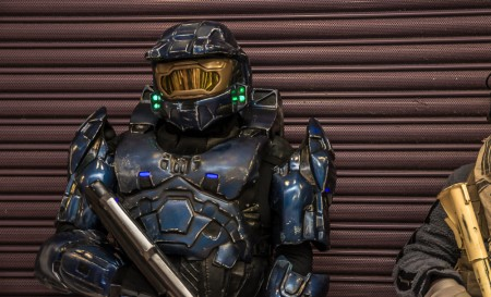 a picture from preston comic con of a master chief cosplayer