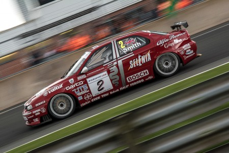 Alfa Romeo 90's British touring car running in the super tourers at the gold cup Oulton park