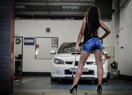 Cheap Photographers Burnley and Pendle - A Car and Girl theme photo shoot carried out in a garage in Burnley
