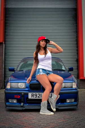A Car and Girl theme photo shoot carried out in Manchester